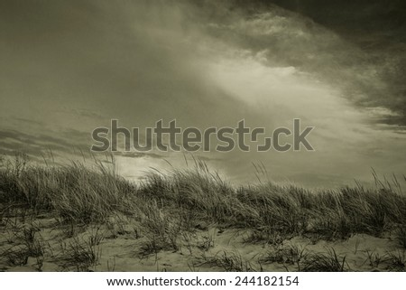 Storm On The Horizon. Moody storm clouds cast shadows over sand dunes and beach. - stock photo
