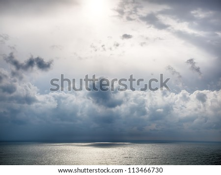 Storm on the sea after a rain. HDR image - stock photo