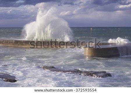 Storm on the sea in Beirut, Lebanon - stock photo