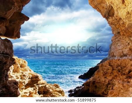 Storm on the sea. Landscape design. - stock photo