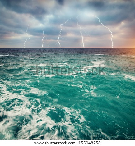 Storm on the sea. Nature design. - stock photo
