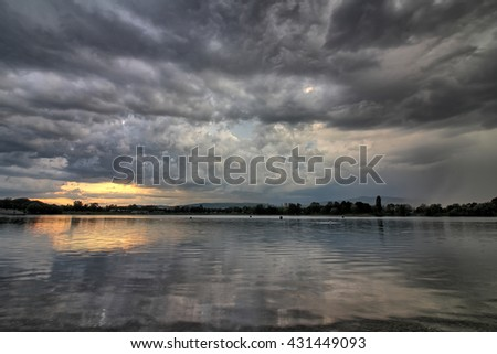 Storm over a lake