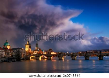 Storm over Charles bridge, Prague, Czech republic - stock photo