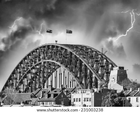 Storm over Harbour Bridge. Sydney, Australia. - stock photo