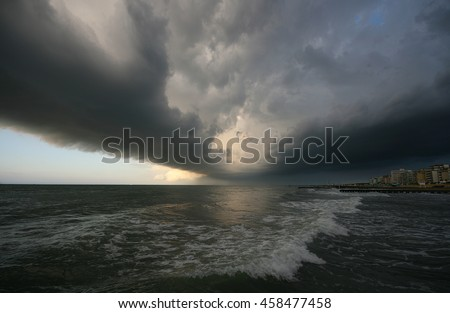 Storm over the beach of Lido a near Venice, Italy.