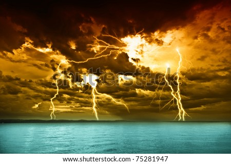 storm over the lake Balaton - stock photo