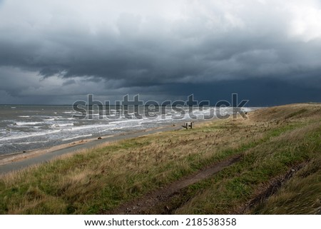 Storm over the Wirral, Liverpool, England - stock photo