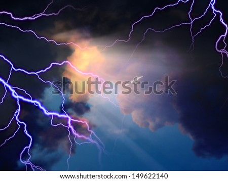 Storm rages about little white bird flying toward sunlight - stock photo