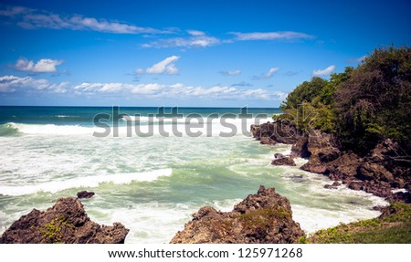 Storm surge coming to the beach - stock photo