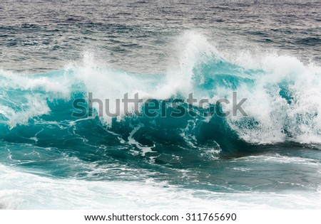 storm wave in the Mediterranean Sea. Sardinia - stock photo