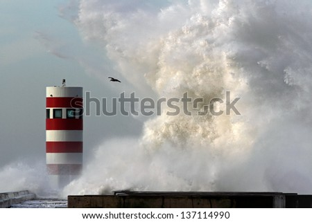 Storm waves over beacon and pier of the harbor of river Douro, Portugal