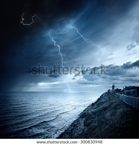 Storm waves over the Lighthouse, - stock photo