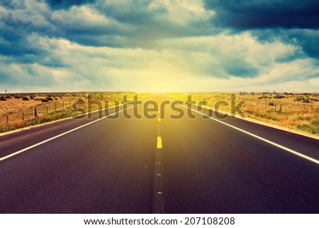 Storm Weather on American Interstate Road - stock photo