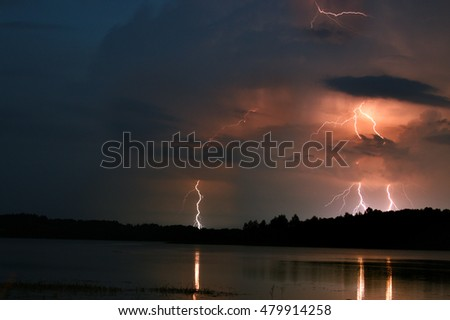 Storm with lightning at night