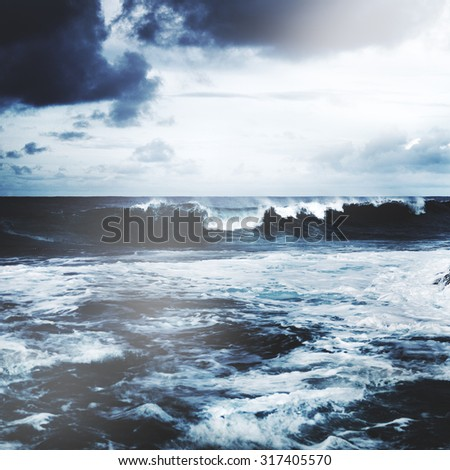 Storming Waves Seascape Natural Disaster Concept - stock photo