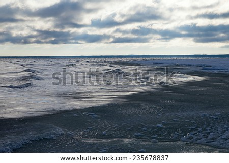 Stormy and icy Baltic sea in winter time.