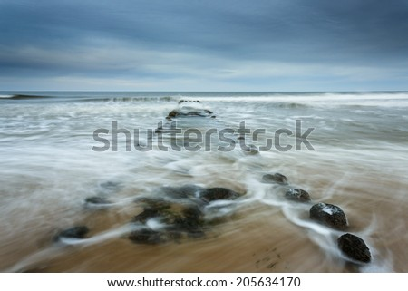 Stormy Baltic in north Poland./ Stormy Baltic - stock photo
