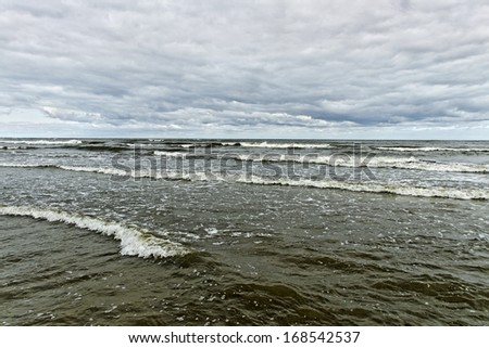 Stormy Baltic sea in a cool day.