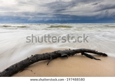 Stormy Baltic Sea in north Poland. Pomerania province./ Stormy Baltic - stock photo