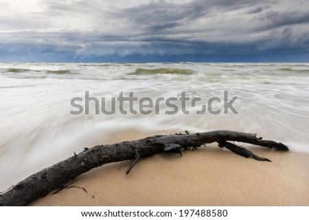 Stormy Baltic Sea in north Poland. Pomerania province./ Stormy Baltic - stock photo