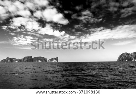 Stormy Bay Black Seascape  - stock photo