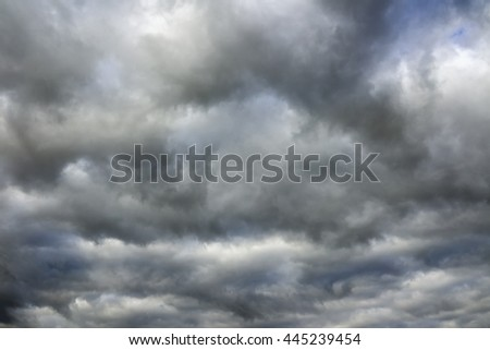 Stormy clouds before a thunderstorm. Cloudy sky over horizon. - stock photo