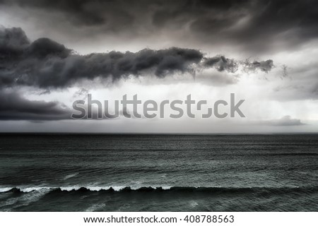stormy clouds on the sea