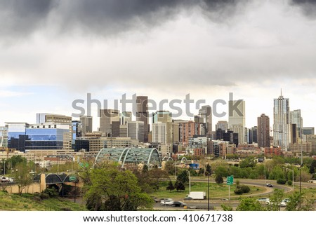 Stormy clouds over skyscrapers in a mile high Denver downtown, Colorado, USA - stock photo