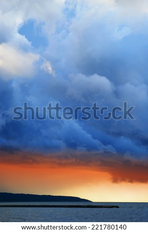 Stormy clouds over the Vistula Lagoon. Frombork, northern Poland. - stock photo