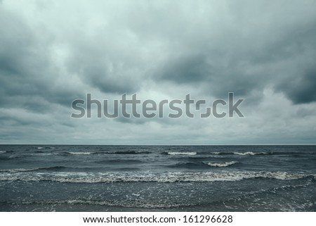 stormy dark baltic sea background - stock photo