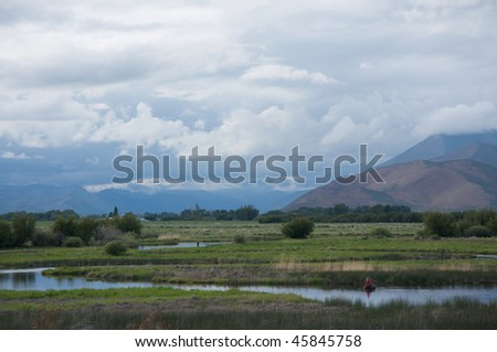 Stormy day on Silver Creek, Idaho - stock photo