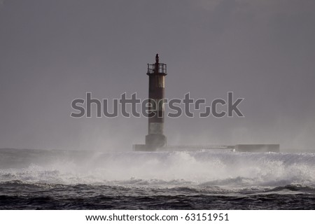 Stormy evening in the river Ave mouth - stock photo