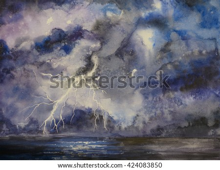 Stormy night sky watercolor painting abstract background with lightning