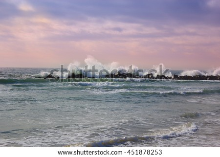 Stormy ocean waves, beautiful seascape, big powerful tide in action, storm weather in a deep blue sea, forces of nature, natural disaster.ocean wave in the Pacific ocean