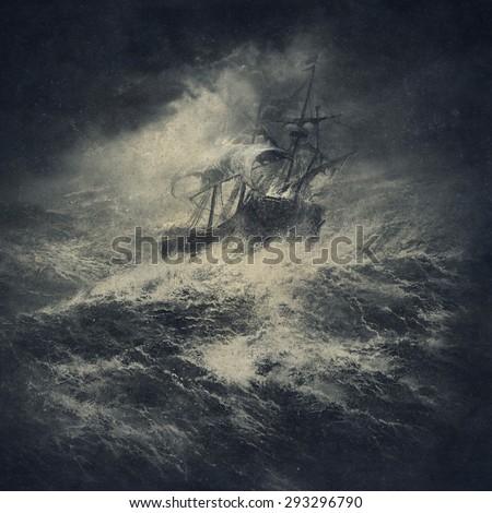 Stormy sea - stock photo