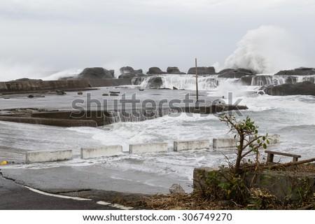 Stormy sea during Typhoon Souledor - stock photo