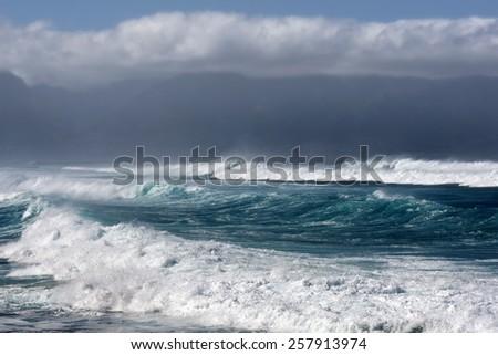 Stormy seas, North Shore of Maui, Hawaii - stock photo