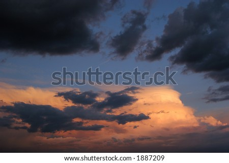 Stormy skies and sunset