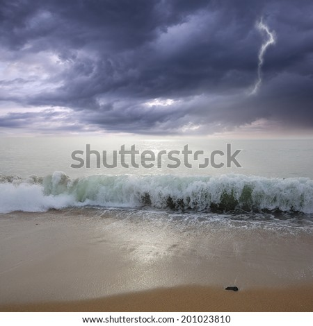 Stormy sky above the ocean. - stock photo