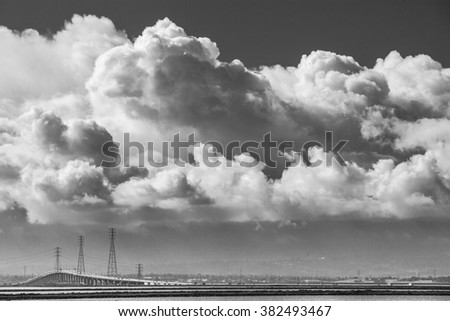 Stormy sky hovered over the Bay Area. Black and White.