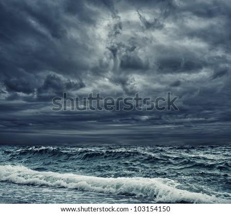 Stormy sky over an ocean - stock photo