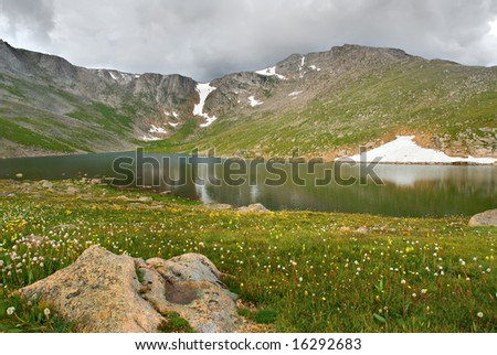 Stormy sky over Summit Lake at the Mt. Evans Wilderness area in Colorado.