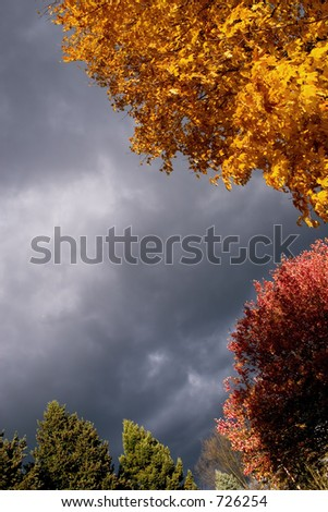 Stormy sky with autumn colors - stock photo