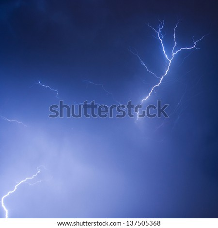 Stormy sky with lightnings - stock photo