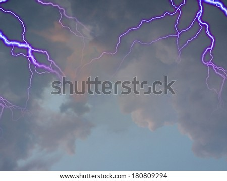 Stormy Sky with Sunlight Streaming - stock photo