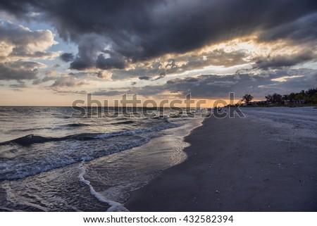 Stormy Sunset at Sanibel Island, Florida - stock photo