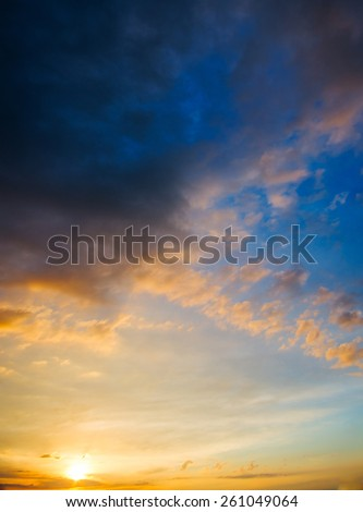 Stormy sunset with dramatic clouds on the horizon. natural composition - stock photo