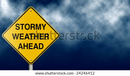 Stormy weather ahead road sign. - stock photo