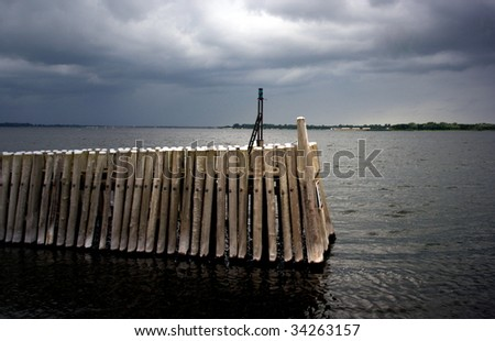stormy weather at the seaside - stock photo