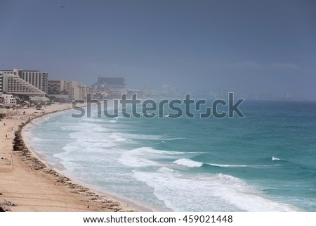 Stormy weather in Cancun. View from above - stock photo